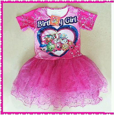 Shopkins Girls Toddler Layered Tulle Tutu Fancy Birthday Party Dress Size 5-12