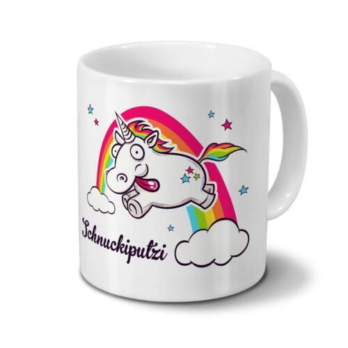 Tasse mit Namen Schnuckiputzi Motiv Verrücktes Einhorn