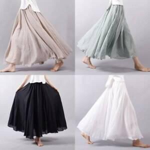 Women Linen Cotton Pleated Casual Maxi Long Loose Beach Boho Skirts Dress Summer