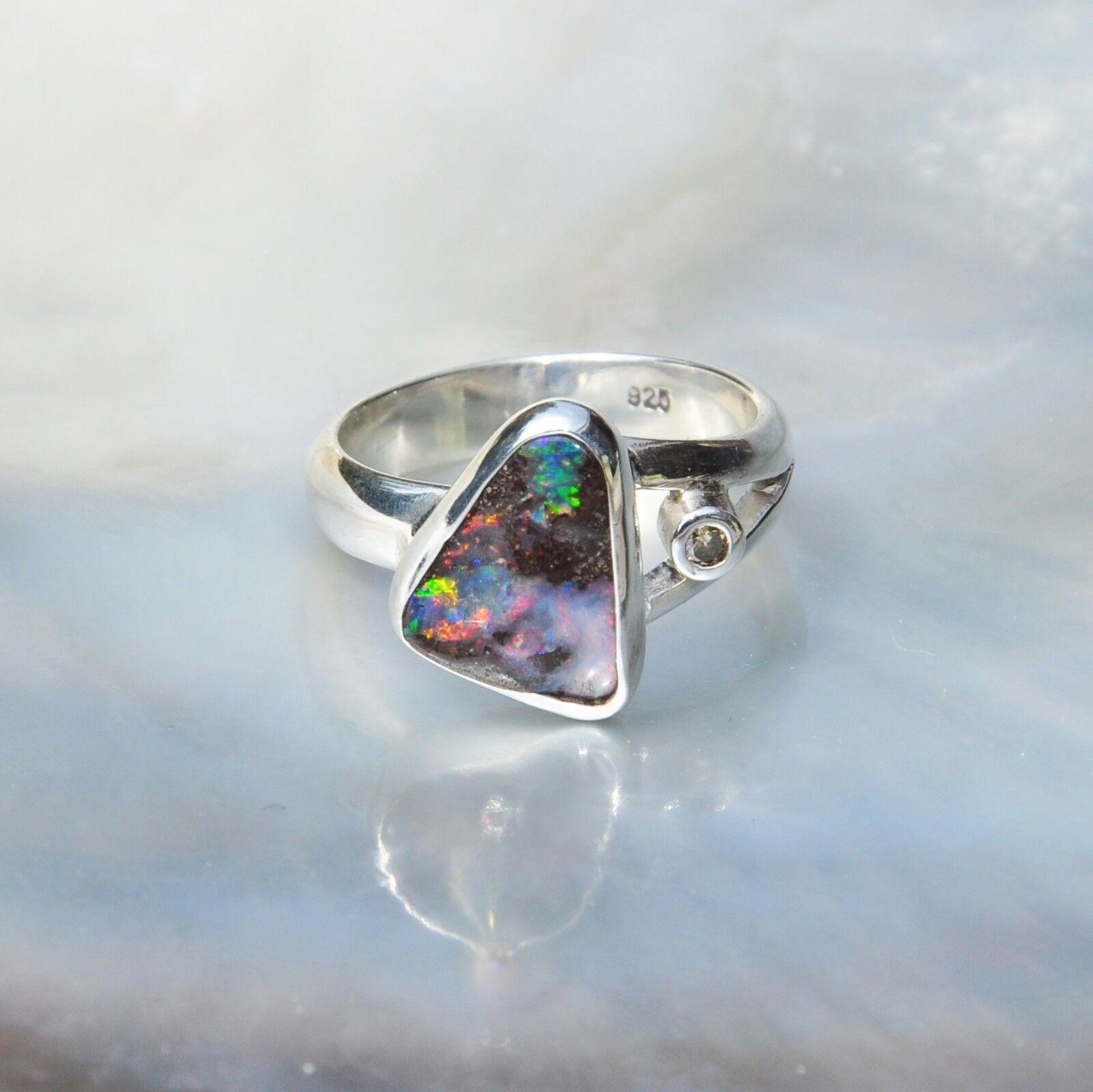 Boulder Opal Ring, 925er silver, Edelsteinring (21863), mit Brillant
