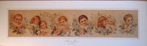 art-print-MORNING-GLORIES-Victorian-vtg-Babies-repro-yardlong-blue-flowers-32x10