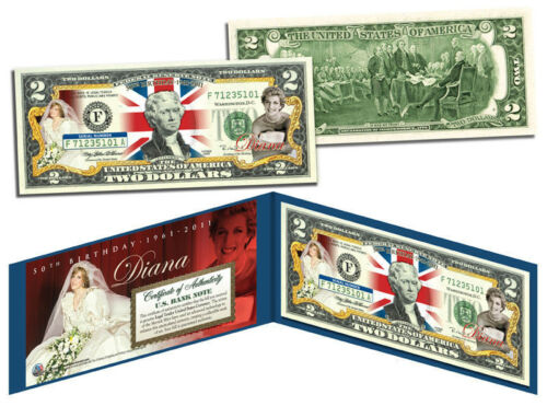 PRINCESS DIANA 1961-1997 OFFICIALLY LICENSED*Legal Tender USA COLORIZED $2 Bill