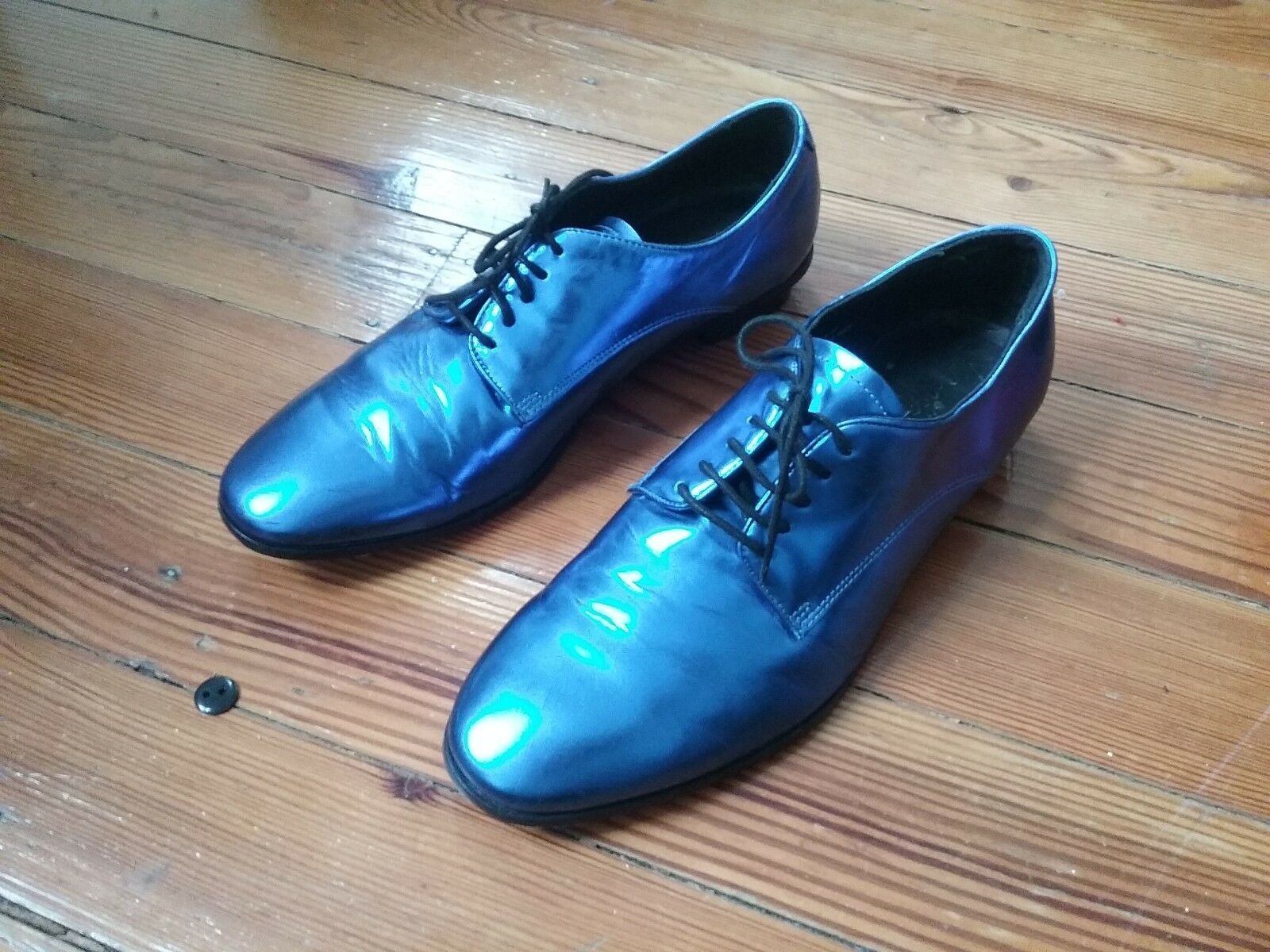 Lanvin x H&M metallic bluee shoes  sz 8. Must Have Rare
