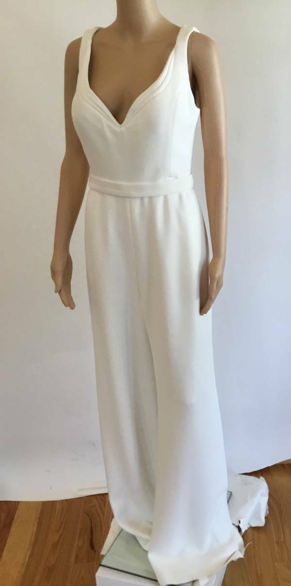 BRANDON MAXWELL PLUNGING SEXY WHITE JUMPSUIT SIZE US 6
