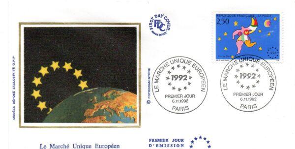 1 Enveloppe Premier Jour Fdc 1992 Marche Unique Europeen Collection