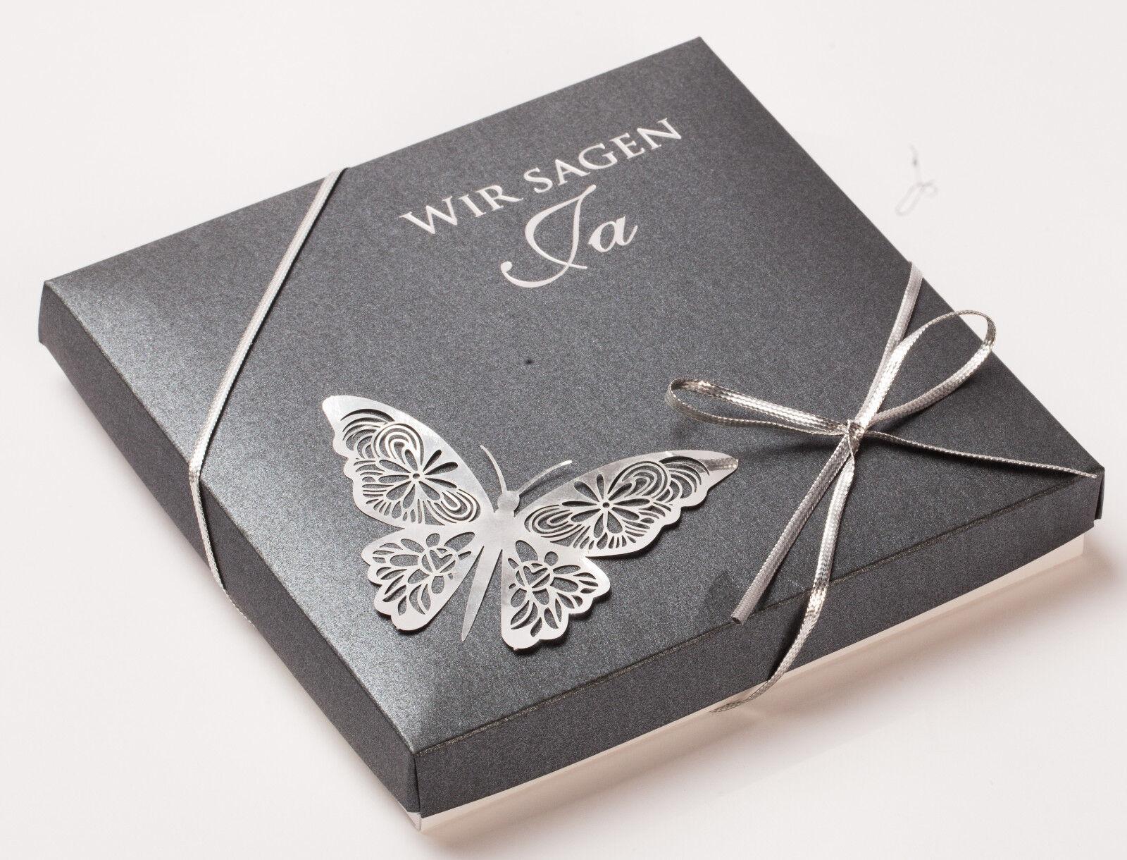 Einladungskarte Hochzeit FEB06 Einladungsbox Schmetterling
