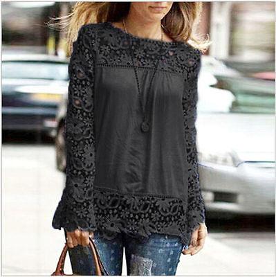 Women Sheer Sleeve Embroidery Lace Crochet Tee Chiffon Shirt Top Blouse Fashion