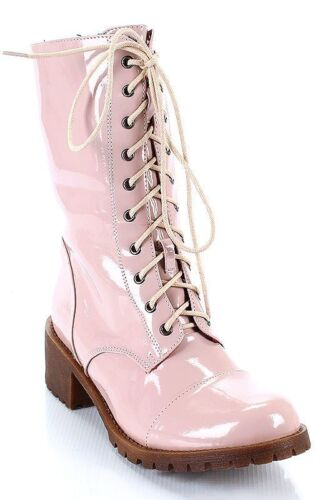 NIB Martin-07 Blush Fahrenheit Combat Boots Baby Pink Lace up side zip Boots