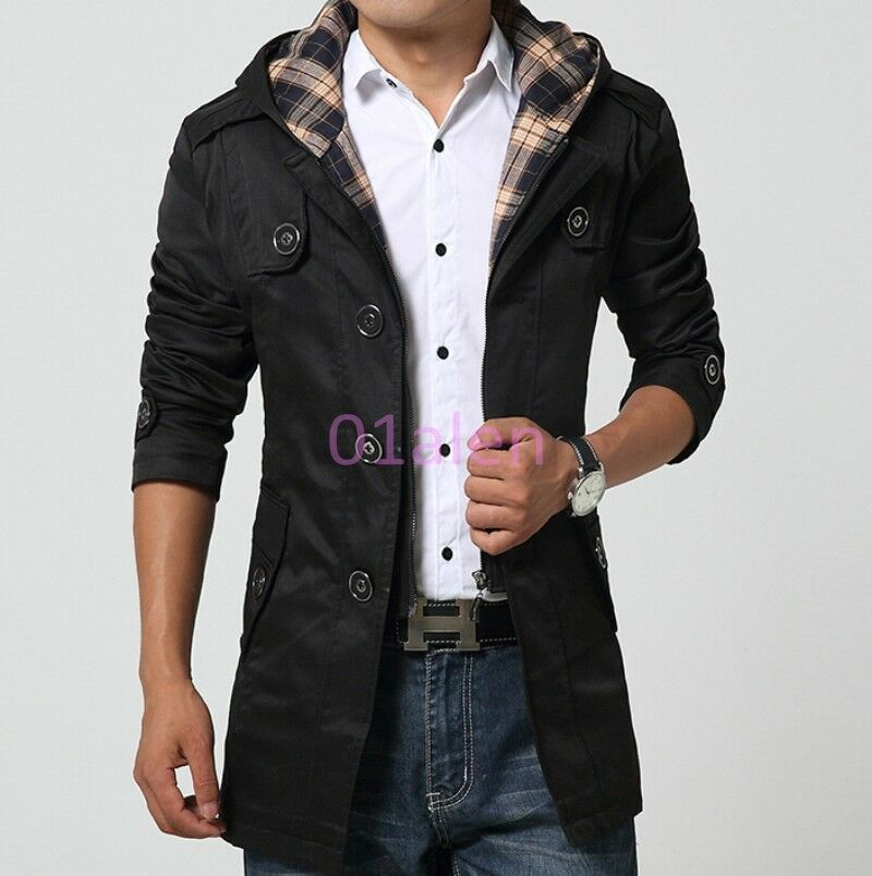 Mens Mid Long Slim Fit Detachable Hooded Lapel Collar Coat Autumn Trench Outwear
