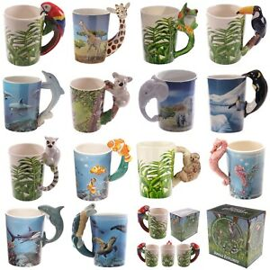 Animal Shaped Handle Ceramic Mug Tea Coffee Cup Novelty Gift Jungle Tropical