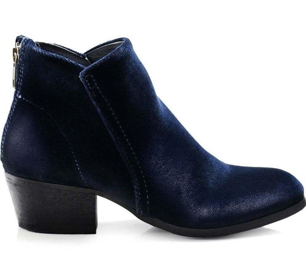H By Hudson Women's Apisi navy velvet ankle boots.