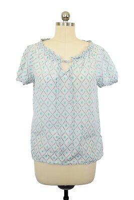 Gap Womens Blouse Size S Silk Gray Green Teal Smock Babydoll Short Sleeve