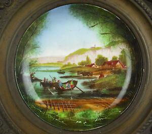 Assiette Murale En Porcelaine De Paris Encadré De Cuivre, C1900 Au Bon Marché Surface LustréE
