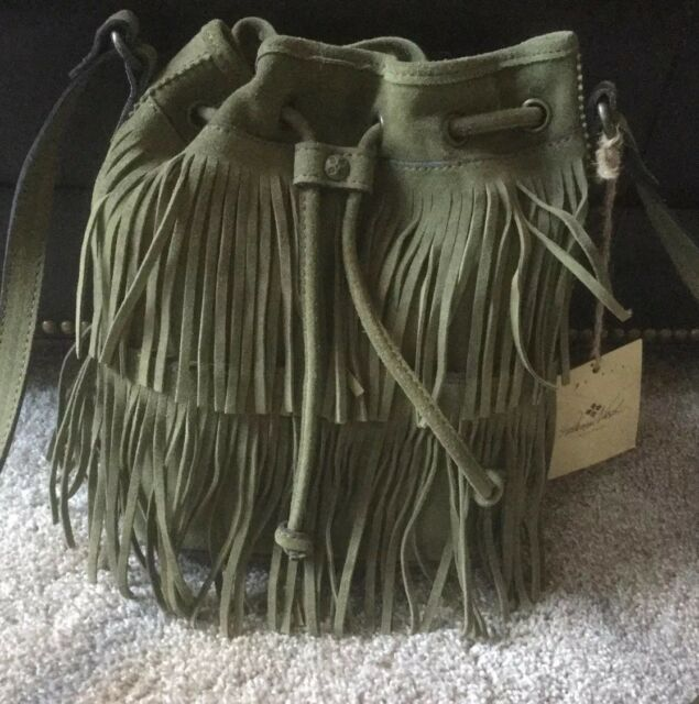 87f2dc46d2fb9 Patricia Nash Bronte Olive Green Fringe Bucket Bag Purse NWT Gorgeous Suede