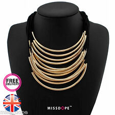 NEW GOLD MULTI LAYER NECKLACE ROPE LADIES MOON STATEMENT BIB INDIAN BOHO PIPE