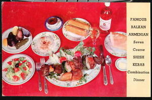 NYC-NY-Balkan-Armenian-Restaurant-Shish-Kebab-Vtg-PC