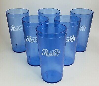 4 PEPSI COLA 20 oz Restaurant Cups Glasses Dark Blue Carlisle Plastic