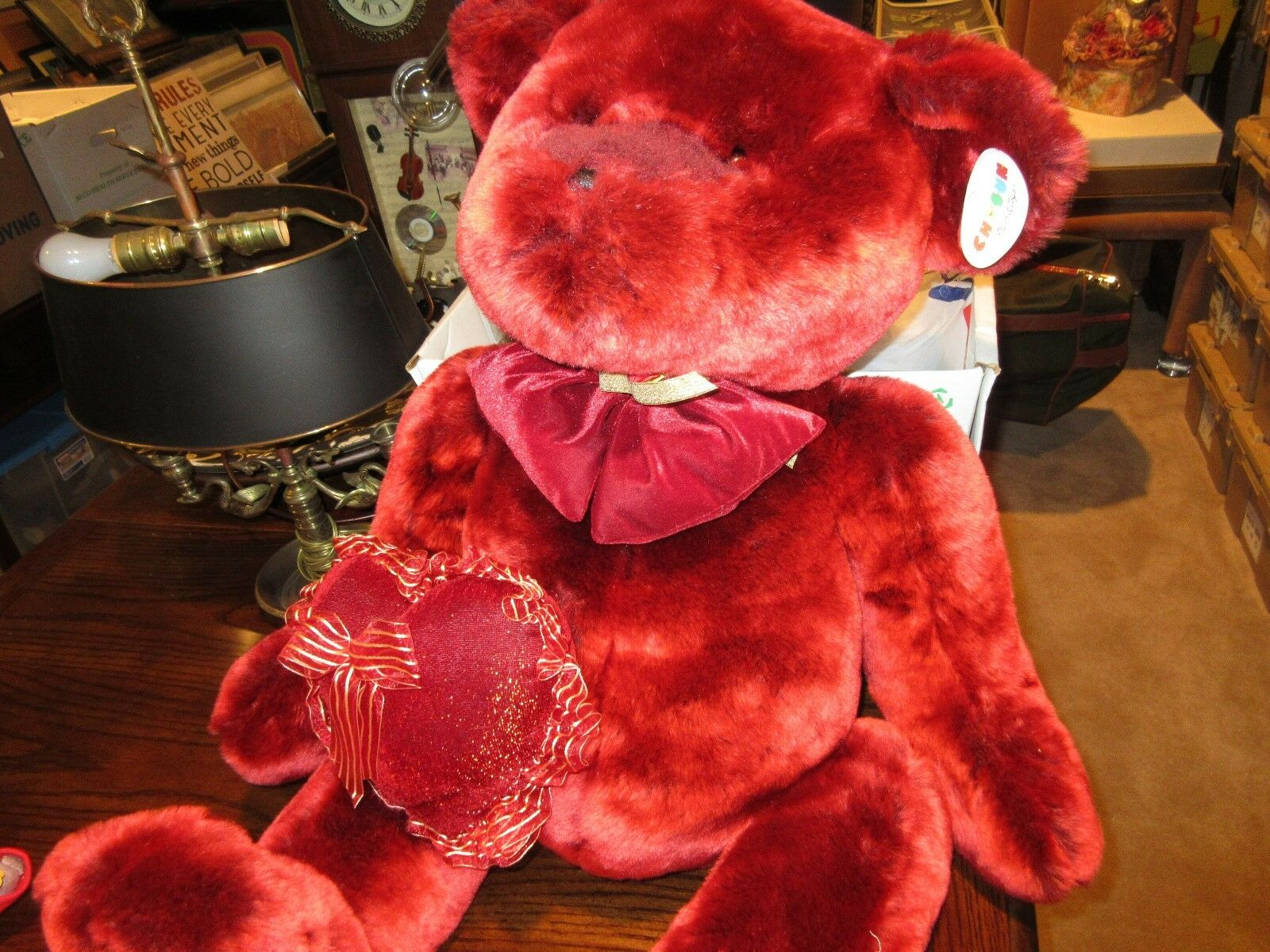 "Giant Valentine Bear , 32"" Long , 32"" Wide Hand to Hand"