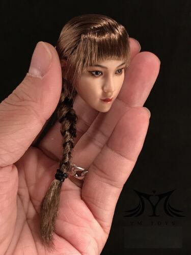 """1//6 Female Head Sculpt Tressé Cheveux Brun pour 12/"""" PHICEN TBLeague Bronzage Figure"""