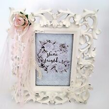 French Vtg Style Picture Frame Shabby Cottage Chic Roses Lace Pearls Home Decor