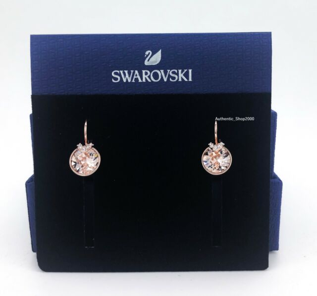 Authentic Swarovski Rose Gold Pink Crystal Bella Pierced Earrings 5299318