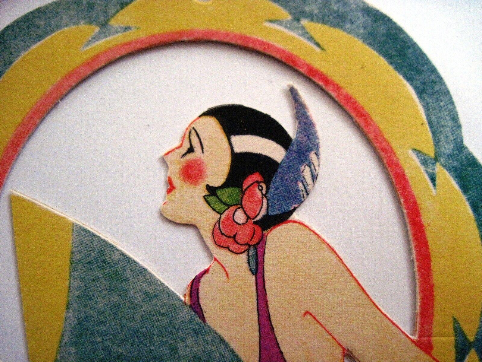 Vintage In Art Deco Bridge Tally w  Pretty Woman In Vintage Arch w  Large Fan  a7fdbf
