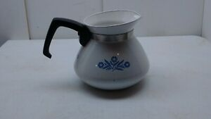 Corning-Ware-Blue-Cornflower-6-cup-Stovetop-Coffee-Pot-Carafe-Tea-Kettle-no-lid
