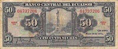 1973 P-103b 20 Sucres UNC /> Scarce in UNC Ecuador