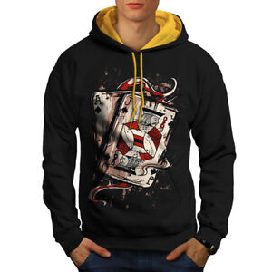 Wellcoda-Ace-Jack-Of-Spades-Mens-Contrast-Hoodie-Card-Casual-Jumper