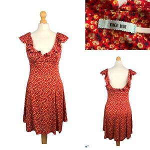 Kimchi Blue Daisy Rot Mini Sommerkleid Rüschen Schultern weiche Viskose Größe S