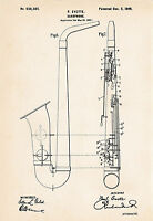 1899 Evette Saxophone Drawing Illustration Sax Player Gifts Patent Art Print