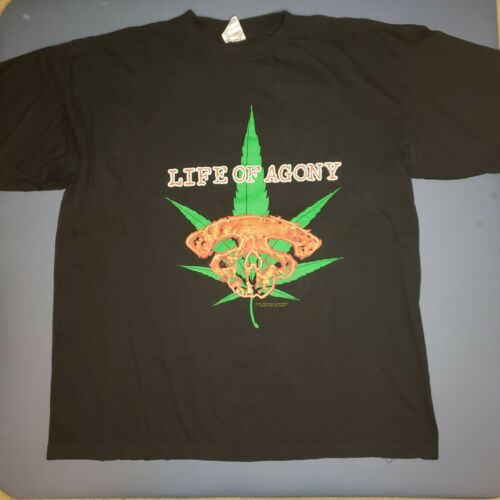 Vintage 90s Life Of Agony T-Shirt 1997 Size XL Blu