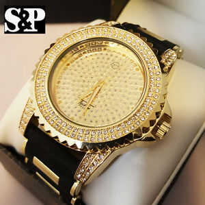 Men luxury hip hop iced out gold finished techno pave for Rapper watches