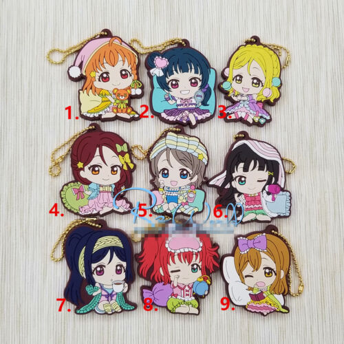 T977 Anime LoveLive sunshine Rubber Keychain Key Ring Rare straps cosplay