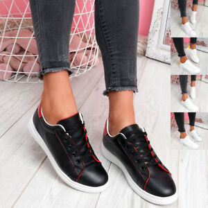 WOMENS LADIES LACE UP CASUAL TRAINERS