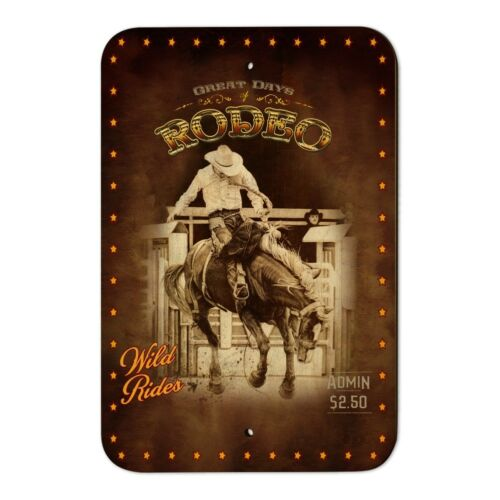 Cowboy Western Rodeo Vintage Horse Bucking Riding Home Business Office Sign