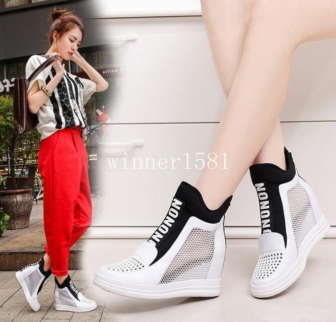 Donna Sport Athletic Scarpe da Ginnastica Hidden Wedge Heel Mesh Summer Running Shoes Loafer
