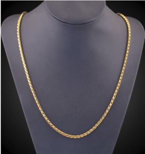 18k-feine-Goldkette-Koenigskette-vergoldet-60cm-lang-2MM-Damen-Herren-Halskette