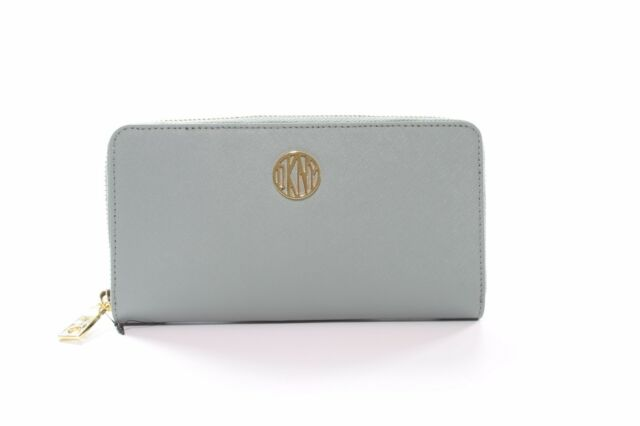 DKNY Donna Karan Soft Blue Purse Saffiano Leather Gold Tone Hardware