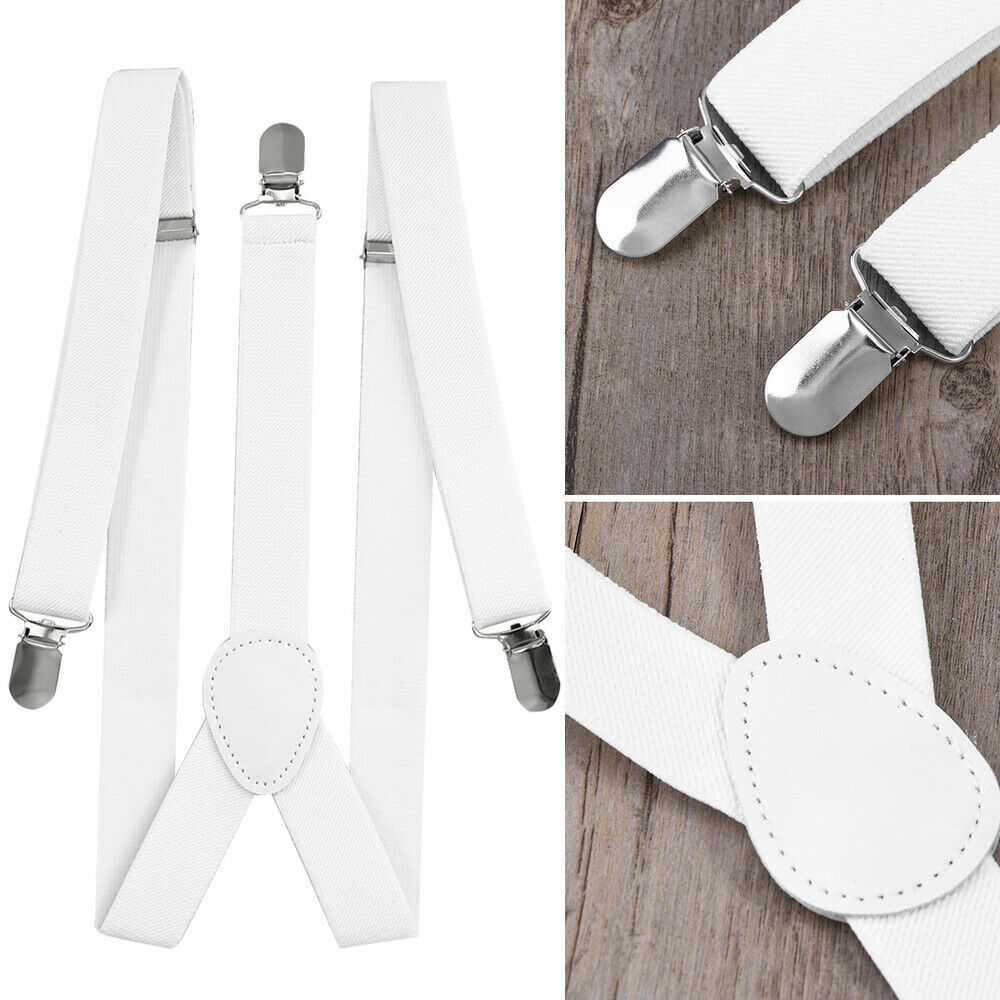 2.5cm Suspenders Y-Shape with 3 Clips for Men and Women (Red)