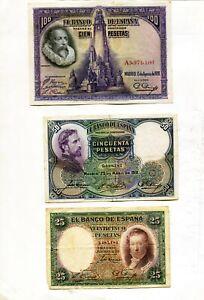 LOTE-3-BILLETES-100-PESETAS-1928-50-1931-Y-Y-25-1931
