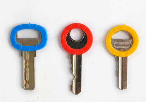 New 8Pc Colorful Hollow Silicone Key Cap Covers Topper Keyring With Bly Braille