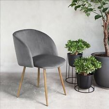 Modern Dining Room Velvet Accent Arm Chair Sofa Solid Steel Legs Leisure Gray