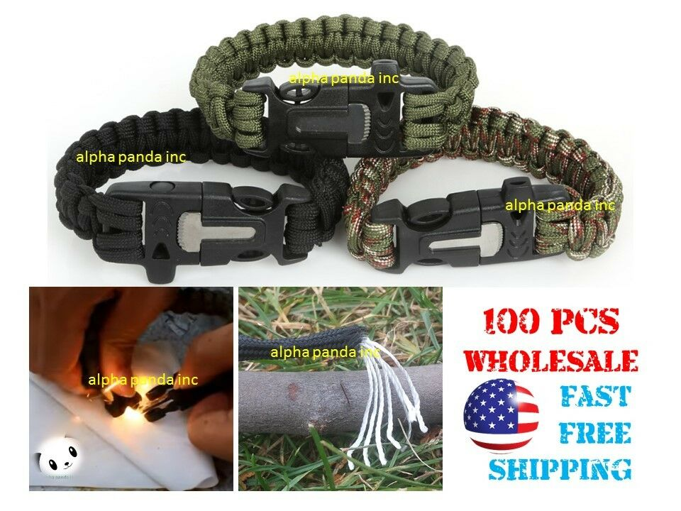 100x Paracord Survival Camping Bracelet Whistle Flint Fire Starter WHOLESALE LOT