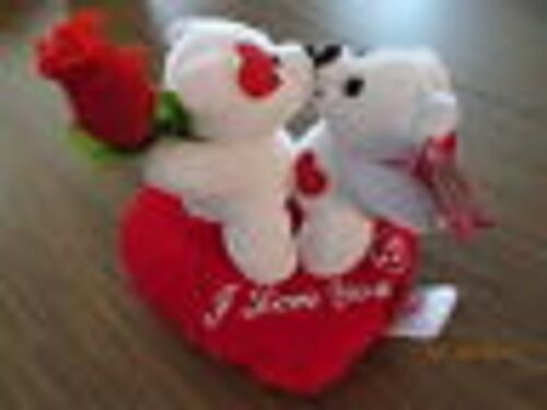 Bears Kissing on Heart Valentines Plush with Music 7 inch
