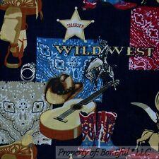 BonEful Fabric FQ Cotton Blue Red Lg Cowboy Rodeo Horse Bandana Star Boot Guitar