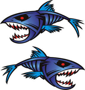 Image Is Loading Huge 2 Blue Piranha Boat Graphics Stickers Fishing