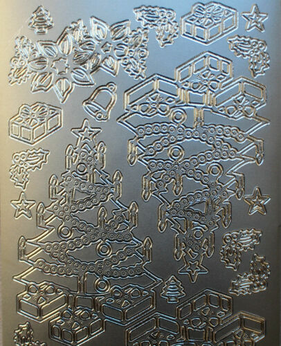 Traditionnel des arbres de Noël Peel Off Feuille Autocollant fabrication carte Art /& Craft