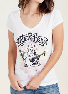 True-Religion-Women-039-s-Damask-Buddha-Crystal-Accent-V-Neck-Tee-T-Shirt-in-White