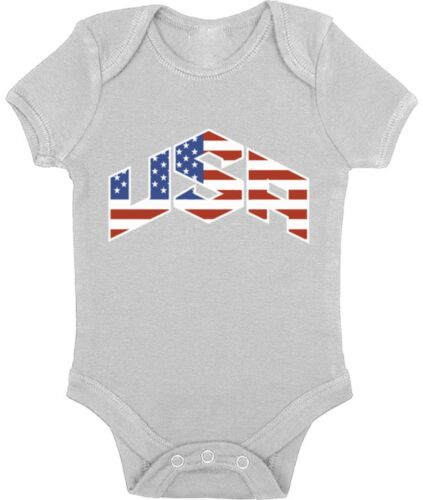 USA Flag Inside Baby Baby Short Sleeve One Piece 4th of July Fourth of July USA